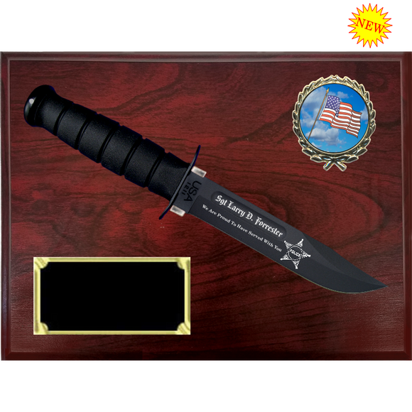 CV58 - CIVILIAN RUBY RED MARBLEIZED FINISH PLAQUE (KA-BAR not included)