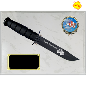 CV30 - CIVILIAN WHITE MARBLE FINISH PLAQUE (KA-BAR not included)