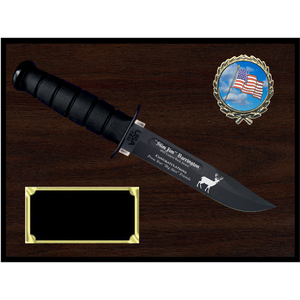 CV16 - CIVILIAN WOODGRAIN FINISH PLAQUE (KA-BAR not included)