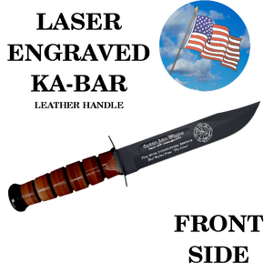 CV01L- CIVILIAN KA-BAR - LASER ENGRAVED - FRONT SIDE - LEATHER HANDLE