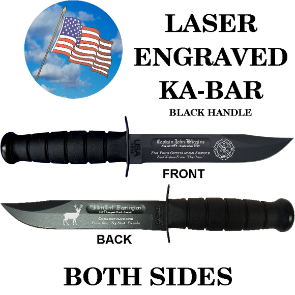 CV02 - CIVILIAN KA-BAR - LASER ENGRAVED - BOTH SIDES - BLACK HANDLE