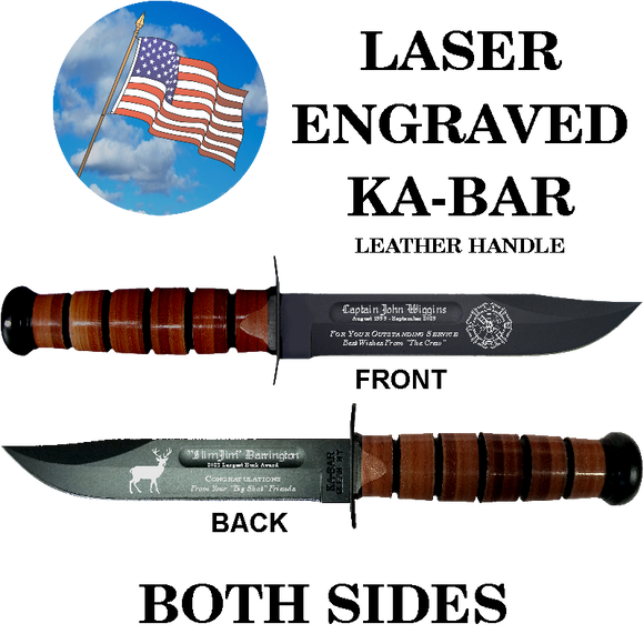 CV02L - CIVILIAN KA-BAR - LASER ENGRAVED - BOTH SIDES - LEATHER HANDLE