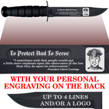"CV80B - CIVILIAN Comm - ""TO PROTECT"" + YOUR PERSONAL ENGRAVING ON THE BACK - BLACK HANDLE"