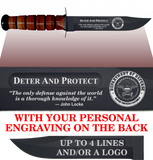 "CV86BL - CIVILIAN Comm - ""DETER AND PROTECT"" + YOUR PERSONAL ENGRAVING ON THE BACK - LEATHER HANDLE"
