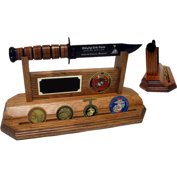MC20 - MARINE CORPS COIN STAND-UP - HONEY OAK (KA-BAR and Coins not included)