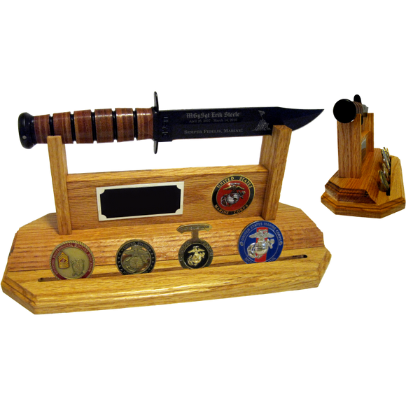 MC60 - MARINE CORPS COIN STAND-UP - LIGHT OAK (KA-BAR and Coins not included)