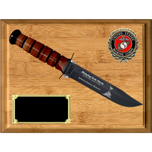 MC04 - MARINE CORPS BAMBOO PLAQUE (KA-BAR not included)