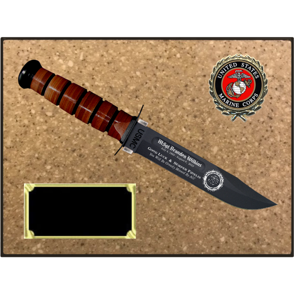 MC56 - MARINE CORPS KORINITE LIGHT BROWN SUGAR PLAQUE  (KA-BAR not included)