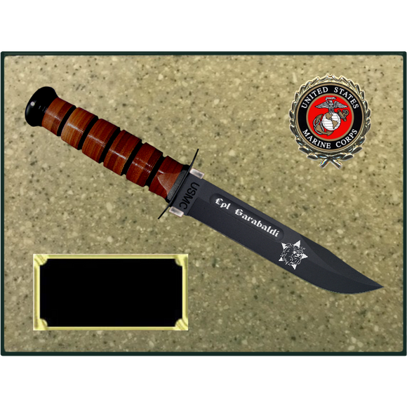MC76 - MARINE CORPS KORINITE OATMEAL PLAQUE (KA-BAR not included)