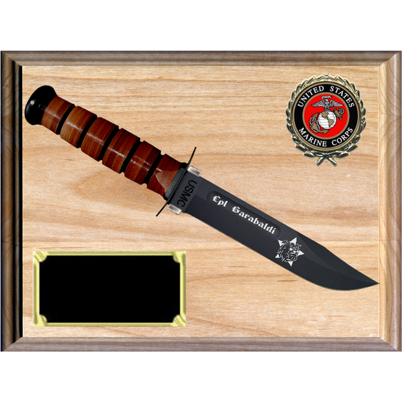 MC36 - MARINE CORPS RED ALDER PLAQUE (KA-BAR not included)
