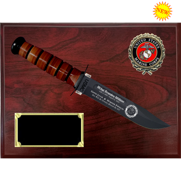 MC58 - MARINE CORPS RUBY WOODGRAIN FINISH PLAQUE (KA-BAR not included)