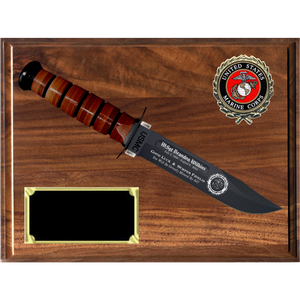 MC28 - MARINE CORPS GENUINE WALNUT PLAQUE (KA-BAR not included)