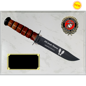 MC30 - MARINE CORPS WHITE MARBLE FINISH PLAQUE (KA-BAR not included)