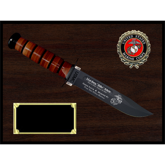 MC16 - MARINE CORPS WOODGRAIN FINISH PLAQUE (KA-BAR not included)