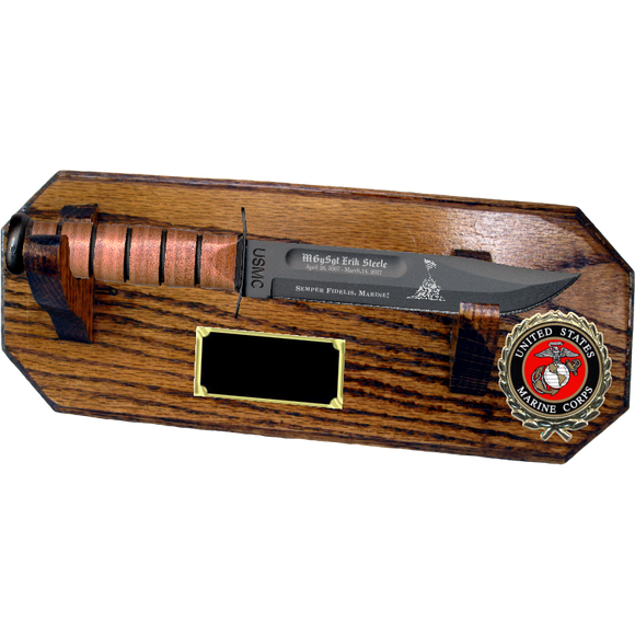 MC72 - MARINE CORPS WALL MOUNT - HONEY OAK (KA-BAR not included)
