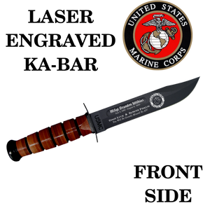 MC01- MARINE CORPS KA-BAR - LASER ENGRAVED - FRONT SIDE