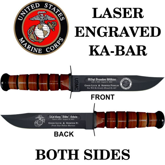 MC02 - MARINE CORPS KA-BAR - LASER ENGRAVED - BOTH SIDES
