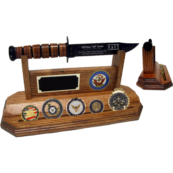 NA20 - NAVY COIN STAND-UP - HONEY OAK (KA-BAR and Coins not included)