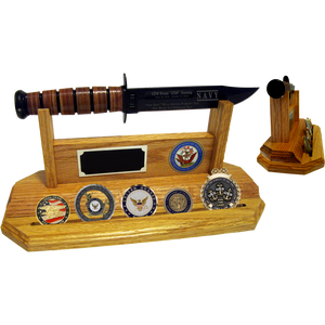 NA60 - NAVY COIN STAND-UP - LIGHT OAK (KA-BAR and Coins not included)
