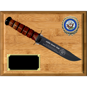 NA04 - NAVY BAMBOO PLAQUE (KA-BAR not included)
