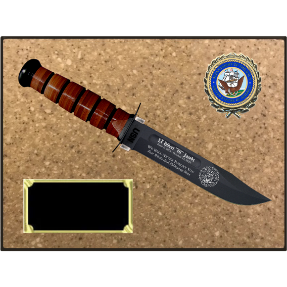 NA56 - NAVY KORINITE LIGHT BROWN SUGAR PLAQUE  (KA-BAR not included)