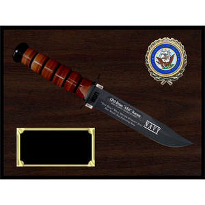 NA16 - NAVY WOODGRAIN FINISH PLAQUE (KA-BAR not included)