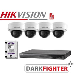 4 x Hikvision 6MP DarkFighter Vandal Proof Outdoor Dome Camera Kit
