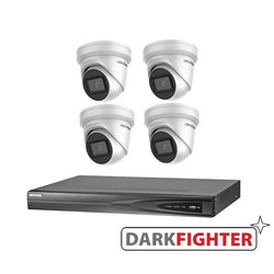 4 x Hikvision 8MP 4K DarkFighter Outdoor Turret IP Camera Kit