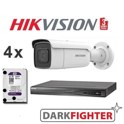 4 x  Hikvision 8MP 4K DarkFighter Outdoor Motorised VF Bullet IPC Kit