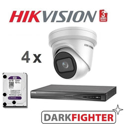 4 x  Hikvision 8MP 4K DarkFighter Outdoor Motorised VF Turret IPC Kit