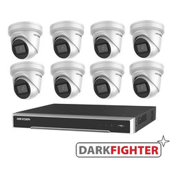 8 x  Hikvision 6MP DarkFighter Outdoor Turret IP Camera Kit