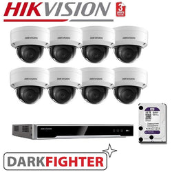 8 x 6MP Hikvision DarkFighter Vandalproof Outdoor Dome Camera Kit