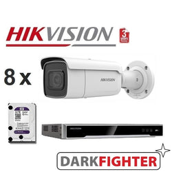 8 x  Hikvision 8MP 4K DarkFighter Outdoor Motorised VF Bullet IPC Kit