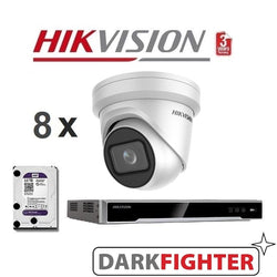8 x  Hikvision 8MP 4K DarkFighter Outdoor Motorised VF Turret IPC Kit