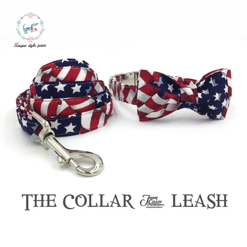 USA Dog Collar and Leash Set With Bow Tie