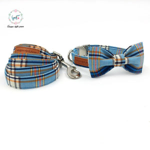 Light Blue Plaid Dog Collar and Leash Set With Bow Tie