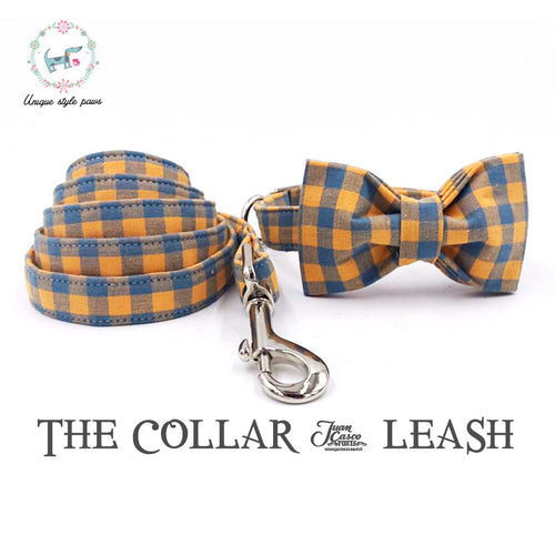The Orange Plaid Dog Collar and Leash Set With Bow Tie