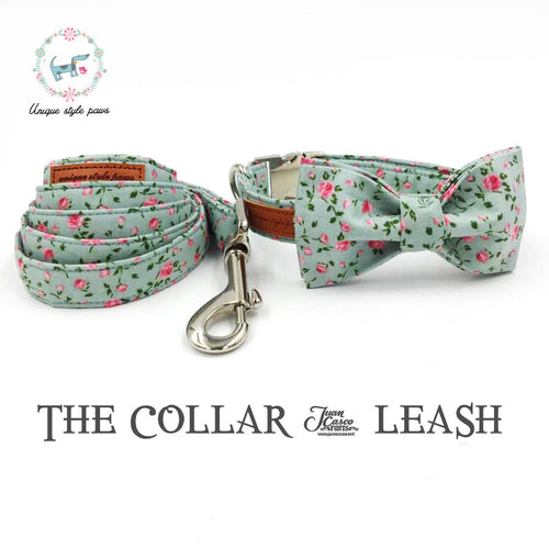 Pretty Rose Dog Collar and Leash Set With Bow Tie