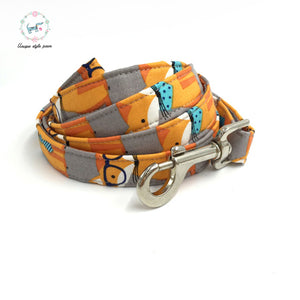 The Fox Dog Collar and Leash Set With Bow Tie