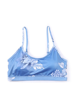 Blue Floral Strappy Sport Bra Top