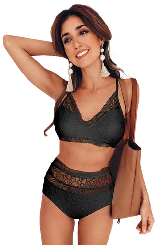 Black Captured Lace-Trim Bikini Top & High-Waist Bottoms