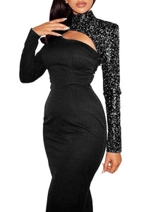 Unilateral Sequined Sleeve Collar Neck Tight Dress
