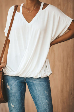 White Cut out Drape Tee