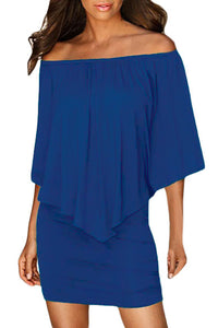 Multiple Dressing Layered Blue Mini Poncho Dress
