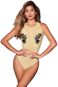 Apricot Mesh and Guipure Lace Teddy