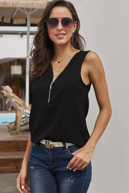 Black Zip Neckline Sleeveless Shirt Tank