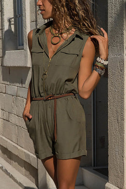 Army Green Zippered Shorts Overall for Women