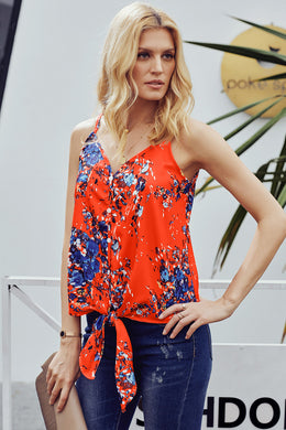 Orange Summer Sleeveless V Neck Spaghetti Straps Vest