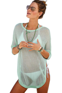 Sky Blue See-through Half Sleeve Beach Cover up