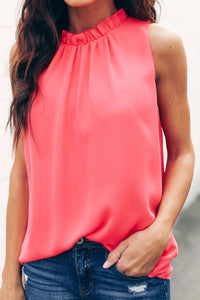 Red Ruffle Trim Neckline Tank Top